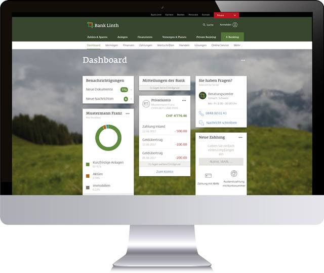 Screen Online Banking Dashboard